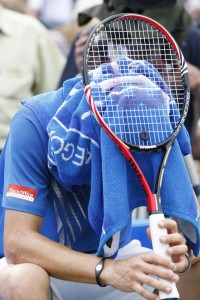 Mardy Fish of U.S. after being defeated by Sam Querrey of U.S. in the singles final tennis match at Queen's Club grass court championships in London, Sunday, June 13, 2010. (AP Photo/Sang Tan)
